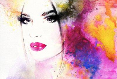 Fototapet Vacker kvinna porträtt. Abstrakt sätt akvarellillustration