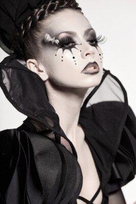 Fototapet vacker modell som utger sig för schack drottning - fantasy make-up