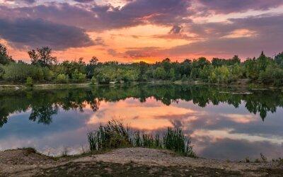 Fototapet Vacker sjö i Slovakien