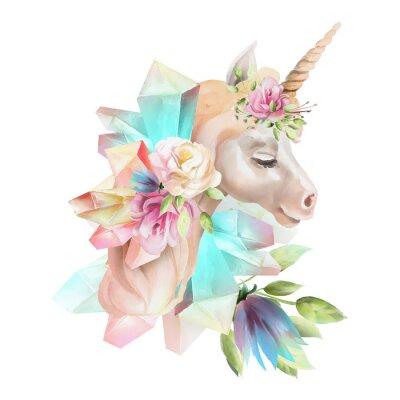 Fototapet Vacker, söt, vattenfärg enhörningshuvud med blommor, blomkrona, bukett och magiska kristaller isolerade på vitt