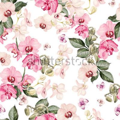 Fototapet Vackert akvarellmönster med orkidéblommor. Illustration.