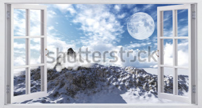 Fototapet Vackert bergslandskap, utsikten från fönstret.