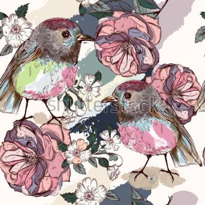 Fototapet Vackert botaniskt mönster i vintage stil med fåglar och rosor