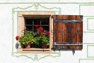 Fototapet Vackert hus i landet med blommor