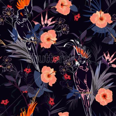 Fototapet Vackert tropiskt blommigtryck. Outline Parrotfågel i djungeln och blommor i sommarexotisk skogsalloutdesign, sömlös mönstervektor för mode, väggpaoer och alla tryck på marinblå.