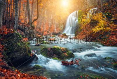 Fototapet Vackert vattenfall vid berg flod i färgglada hösten skog med röda och apelsin löv vid solnedgången. Naturlandskap