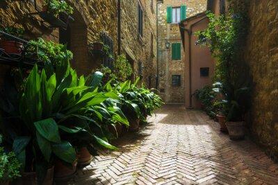 Fototapet Vackra gatorna i den medeltida toskanska by i Italien, Pienz