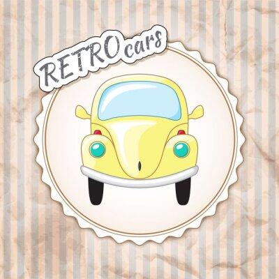 Fototapet Vackra lilla gula retro bil.