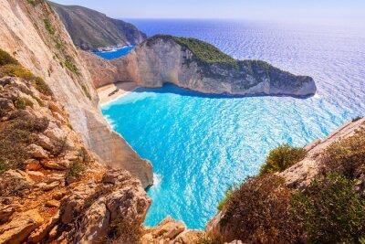 Fototapet Vackra Navagio Beach (Shipwreck Beach) på Zakynthos, Grekland