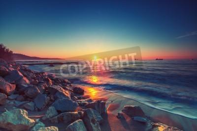 Fototapet Vackra soluppgången över horisonten,