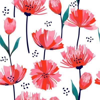 Fototapet Vackra sommar fräscha trendiga vilda blommande rosa tulpan sömlösa mönster i en hand ritning stil