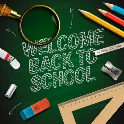 Fototapet Välkommen tillbaka till skolan, vektor Eps10 illustration.