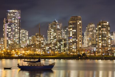Fototapet Vancouver Skyline och Segelbåt