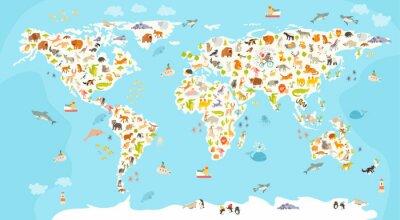 Fototapet Världs däggdjur karta. Vacker gladlynt färgrik vektorillustration för barn och barn. Förskola, baby, kontinenter, hav, dragit, Earth