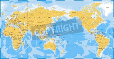 Fototapet Världskarta gulblå, Asien i centrum vektor.