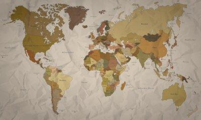Fototapet Världskarta - Historiskt kartlägga med kurs (detaljnivå)