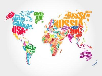 Fototapet Världskarta i typografi ord moln koncept, namnen på de länder
