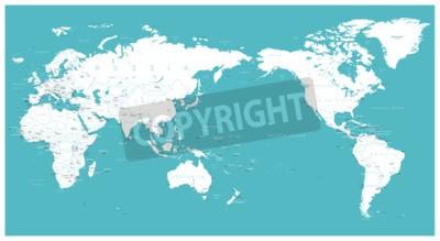 Fototapet Världskarta lägenhet Asien i centrum vektor.