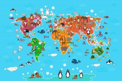 Fototapet världskarta med djur. Apa och igelkotten, björn och känguru, hare varg panda och pingvin och papegoja. Djur världskarta vektorillustration i tecknad stil
