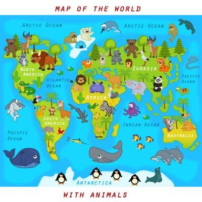 Fototapet världskarta med djur - vektor illustration, eps