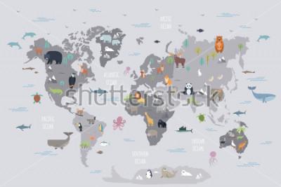 Fototapet Världskarta med vilda djur som bor på olika kontinenter och oceaner. Söt tecknad däggdjur, reptiler, fåglar, fisk som bor i planet. Platt färgstark vektorillustration för pedagogisk affisch, banner