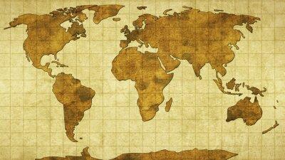 Fototapet världskarta på gamla papper
