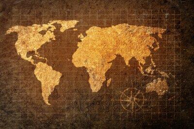 Fototapet världskarta på grunge bakgrund