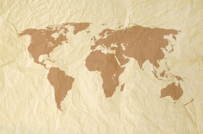 Fototapet Världskarta på Vintage yallow Pappersstruktur bakgrund