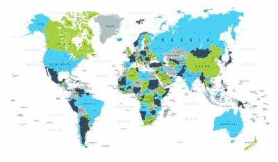 Fototapet Världskarta Politisk Blå Grön Brun Vektor