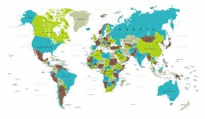 Fototapet Världskarta Politisk Blå Grön Grå Vektor
