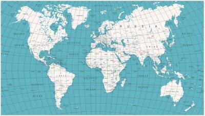 Fototapet Världskarta Politisk Vintagevektor