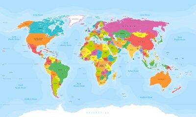 Fototapet Världskarta vektor. Engelska / Amerikanska etiketter