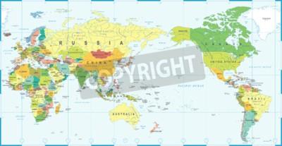 Fototapet Världskarta vitblå, Asien i centrum vektor.