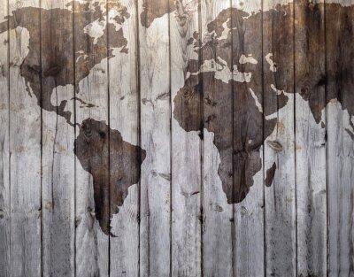 Fototapet Världskartan ritas på duk trä effekt