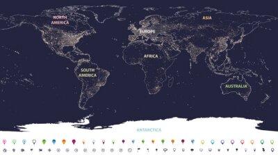 Fototapet världsljuskarta med märkta kontinenter i olika färger och platsikoner