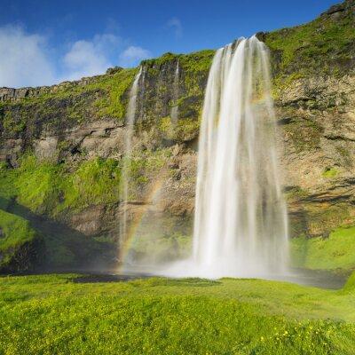 Fototapet vattenfall och regnbåge i Island