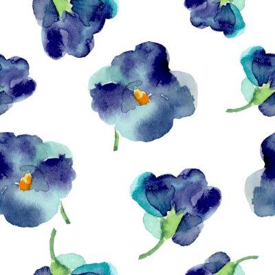 Fototapet Vattenfärg av violetta blommor sömlösa mönster.
