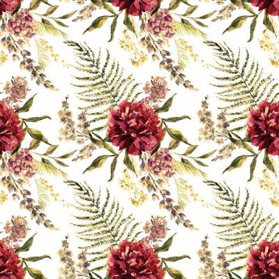 Fototapet Vattenfärg blommönster