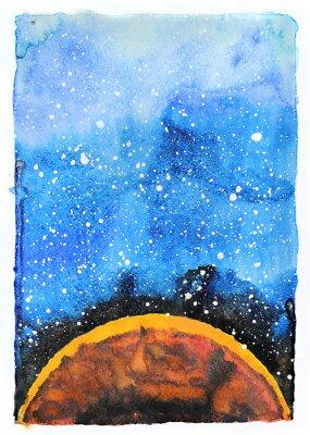 Fototapet Vattenfärg galax illustration. Planeten Mars.