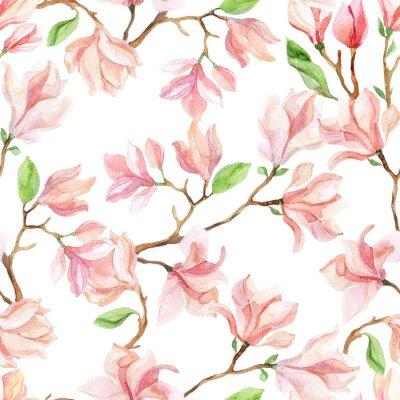 Fototapet vattenfärg magnolia grenar