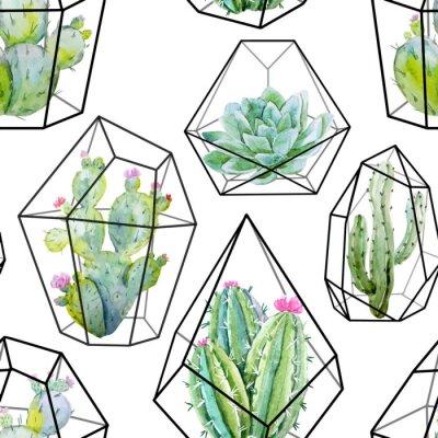 Fototapet Vattenfärg vektor kaktus mönster