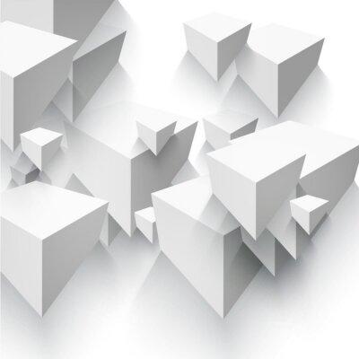 Fototapet Vector abstrakt geometrisk form från grå kuber.