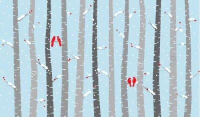 Fototapet Vector björk eller Aspen Trees med Snow och Love Birds