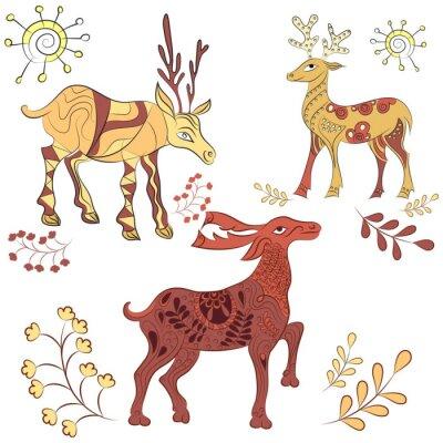 Fototapet Vector dekorerade rådjur med naturelement. Handritad illustration. Scandinavian, indisk stil. prydnad element