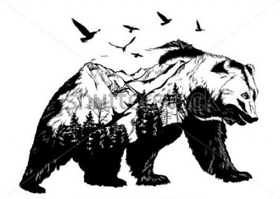 Fototapet Vector Double exposure, bear for your design, wildlife concept