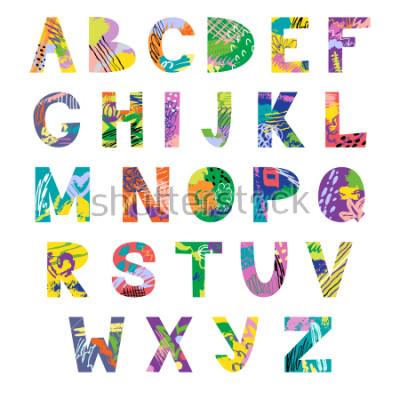 Fototapet Vector hand drawn latin artistic alphabet. Doodle fancy abc. Colorful fanky creative font.