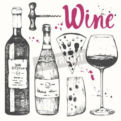 Fototapet Vector illustration med ett glas vin, korkskruv, flaska, champagne, ost. Klassisk alkoholhaltig dryck.