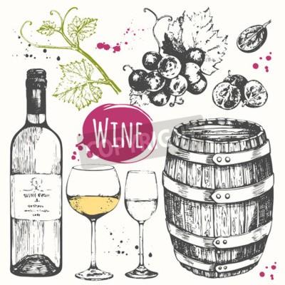 Fototapet Vector illustration med vinfat, vinglas, druvor, druv kvist. Klassisk alkoholhaltig dryck.
