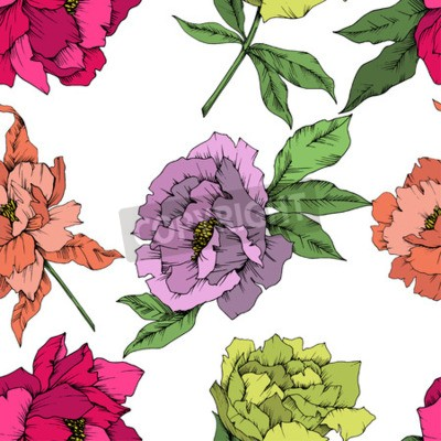 Fototapet Vector Peony floral botanical flower. Wild spring leaf wildflower isolated. Engraved ink art. Seamless background pattern. Fabric wallpaper print texture.