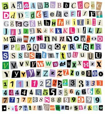 Fototapet Vector Ransom anmärkning klippa papper bokstäver, siffror, symboler